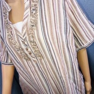Liz & Me Blouse Short Sleeve Stripe Brown EUC O